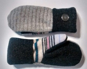 Gray textures and stripe patterns, Medium, Etsy mittens, recycled sweaters, women's mittens, fleece lined mittens, etsy sweater mittens