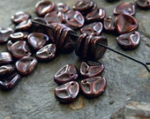 Rose petal beads, Czech glass beads, 8x7mm beads, antique metallic amethyst (50 pcs) NEW