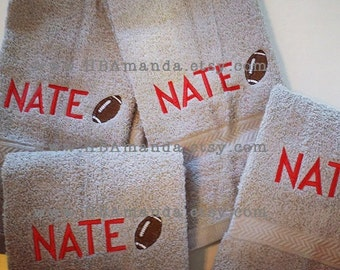 Football +  First Name Sports Towel  - Monogram Sports Team Gift Towel