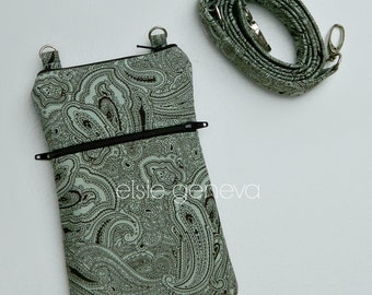 Paisley Phone Case with Wristlet and Shoulder Strap -Brown & Pale Aqua Mint - iPhone Plus 4 5 6 Samsung Galaxy Note LG