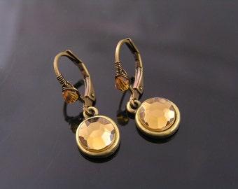 Wire Wrapped Earrings, Topaz Crystal Earrings, Wire Wrapped Lever Back Earrings, Brown Crystal Jewelry, Small Earrings, Short Earrings