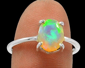 Opal Ring Faceted Firey Opal Ring AAA Quality Genuine Solid Faceted Opal Solitaire Ring Opal Engagement Ring in Solid Sterling Size 5.5