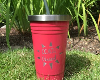 "Custom ""Beach, Please"" RTIC, YETI vacuum insulated tumbler, powder coated and laser engraved/etched"