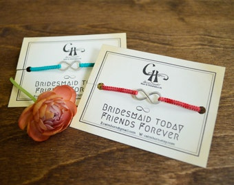 Bridesmaid Gift- Set of Silk Macrame Infinity Bracelets with 925 Sterling Silver Infinity and Custom Silk Color