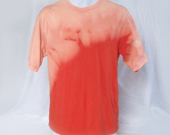 "Solar flare acid washed ""s"" Falls Creek tee t-shirt bleached acid wash NOT tie dye sunburst fire volcano eruption flame (shirt no.126)"