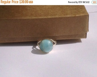 ON SALE Larimar Jewelry Unisex Larimar ring size 7 Blue sky Larimar ring cabochon set in Sterling silver 925