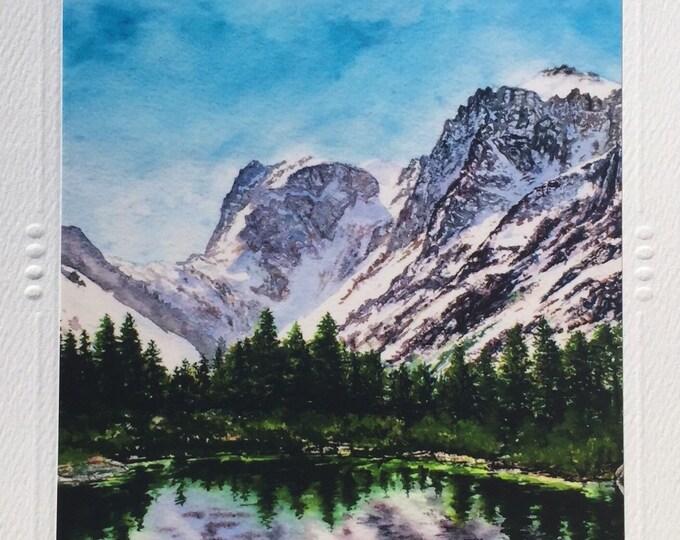 "SET OF 5 Art Greeting Cards by Artist Christie Marie ""Aline Bliss""  lake watercolor art print, Note Card + envelope, art print Framable art"