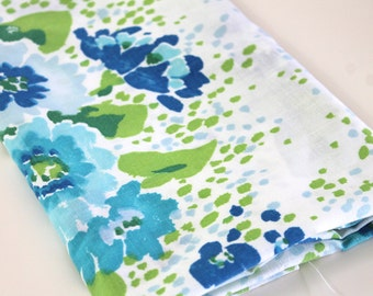 Vintage Sheet Fabric reclaimed bed sheet bed linen fabric retro abstract floral shades of blue lime avocado green decor quilting fabric