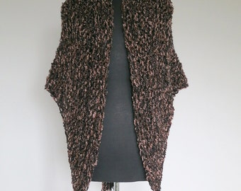 Outlander Inspired Dark Brown Color Knitted Chunky Yarn Claire's Cape Sassenach Shawl Large Wrap Stole with Tassels