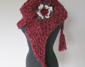 SALE - Mini Shawl Sweet Berry Cranberry Garnet Maroon Color Chunky Knitted Fichu Wrap Scarf Stole with Crochet Flower Brooch
