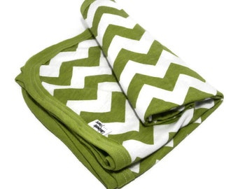 Swaddling Baby Receiving Blanket. Green & White Chevron Stretchy Infant Swaddler Blanket.   Stretch Knit Baby Receiving Blanket.