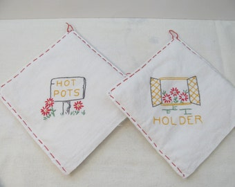 Vintage Handmade Pot Holders - Removable Covers and Quilted Cotton Batting  Inserts