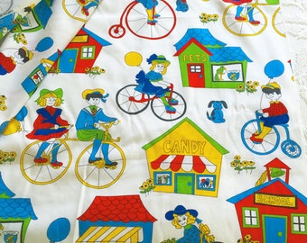 Vintage 1970's Bright Colorful Childrens Kids Fabric Yardage Animals