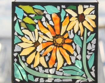 MOSAIC  yellow orange  FLOWER   Stained Glass SunCatcher or wall Decoration