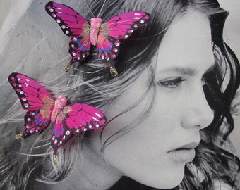 2- Hot Pink Feathers  Butterflies Hair Clips for weddings