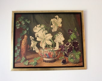 Still Life 'Oriental Splendor' by GEORGE LAURENCE NELSON 27 x 33 inches - Framed Lithograph - Hollywood Regency
