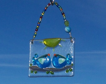 Love Birds // Turquoise // BLue Birds of Happiness // Fused GLass Suncatcher // Ornament // Sun Catcher  // Wedding // Anniversary // Cute