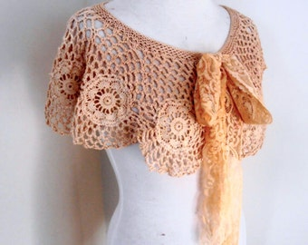 vintage lace collar, cotton crochet collar, tea dyed vintage lace collar, lace wedding collar