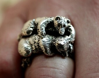Cuddling Bear Rings  sterling silver Blue Bayer Design NYC
