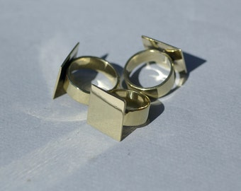 Brass Ring with Square Glue Pad Finding 20mm for Gluing