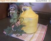 Valentines SALE Old Stoneware Whiskey Jug, Painted Yellow, Moonshine Jug, Primitive, Rustic, Crock Jug