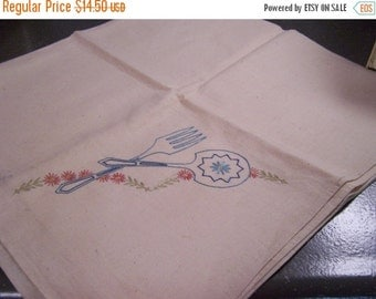 SALE Vintage Embroidered Kitchen Tablecloth, Linen Tablecloth, Spoon & Fork, Country Farmhouse Kitchen, Unused