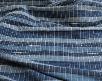 IDHF17 : Light-Medium-Dark Tone Indigo Fabric - Striped + Random Ikat Pattern