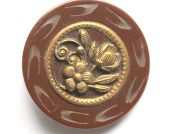 Vintage Carved Bakelite Button LG Floral
