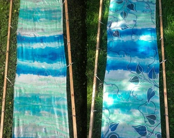 Leaves hand painted silk long scarf. White, teal, blue silk scarf