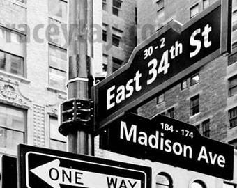 Black White New York Photography, Madison Ave, 34th Street, NYC Street Sign, New York Prints, Street Sign Photos