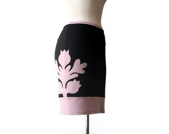 Sample SALE Pencil skirt, Black skirt, Skirt with applique, Womens skirts, Size Large, Skirt US12 - US14, Rose quartz and black