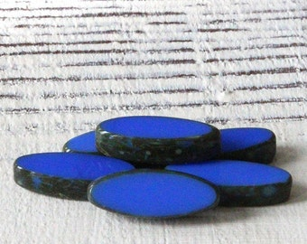 Small Glass Spindle Beads - Jewelry Making Supplies 16x6mm Pointed Oval (10 beads) Vibrant Opaque Blue