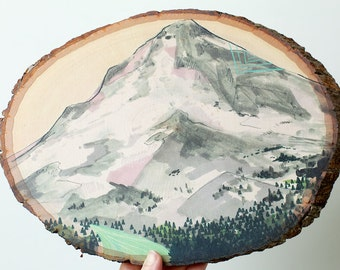 SECONDS SALE Mountain // art print on wood round