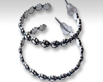 Floral hoop earrings, Sterling silver earrings, silver hoops, oxidized flower earrings, large hoops, boho hoops, hippie hoops - Divine E8013
