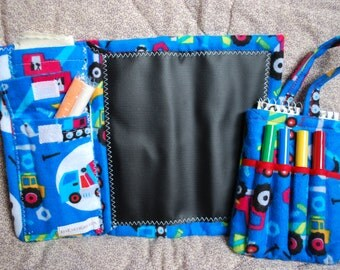 Two Piece Gift Set - Mini Chalkboard to Go and Little Author Tote - construction trucks