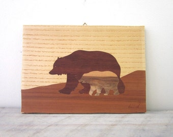 Vintage Wood Inlay Picture with Bears Wall Hanging
