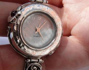 Israel Original Handmade Fine Silver Garnet Bracelet Watch, 925 Silver Watch, Israel Jewelry