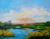 16 x 2 Modern Impressionist Original Oil Landscape of Sunset by Rebecca Croft