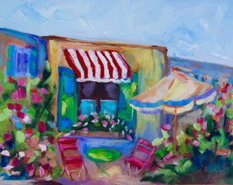 France - French Cafe - Modern Impressionist Original Oil Painting of French Village by Rebecca Croft