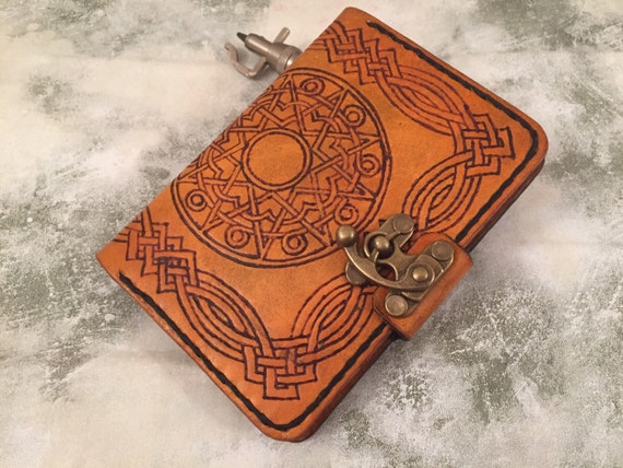 Personalized leather passport holder - antique leather passport wallet - Celtic design - hand tooled passport wallet - mandela