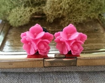 Flower Plugs, Wedding Gauges, Bright Pink Gauges
