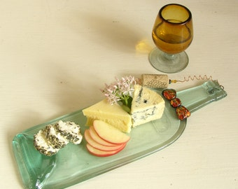 UpCycled Wine Bottle Cheese and Appetizer Tray - Plate - Melted Wine Bottle - Hostess Gift - Entertaining Gift - Bow Tie