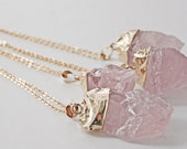 PINK SALT Gold Dipped Raw Rose Quartz Crystal Pendant on Long Chain