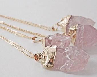 PINK SALT Gold Dipped Raw Rose Quartz Crystal Pendant on Long Chain