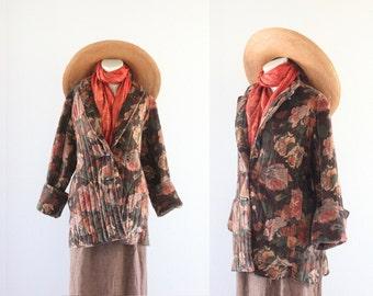botanical velvet toggle jacket / 1970's