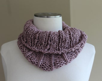 Knit Pima Cotton Cowl Dusty Plum Lily Purple Knit Neckwarmer, Chunky Knit Cotton Cowl Knit Circle Scarf Pale Purple, Pima Cotton Cowl Pink