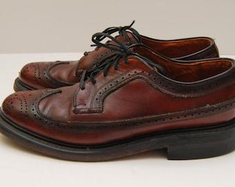 Vintage mens oxblood leather wingtip oxford dress shoes / British Walkers