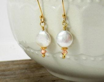 Coin pearl earrings White pearl earrings freshwater pearl earring Wedding earrings Bridal earrings