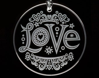 Etched Glass Love Ornament
