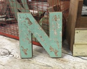 """Distressed Wood Letter N - wall decor - 8"""" letter"""